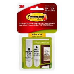 Command Small and Medium Sized Picture Hanging Strips (4 Small/8 Medium Strips) White