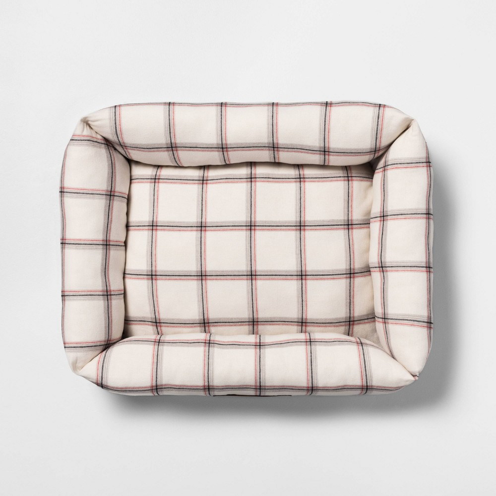 Image of Medium Pet Bed Plaid - Hearth & Hand with Magnolia, Beige