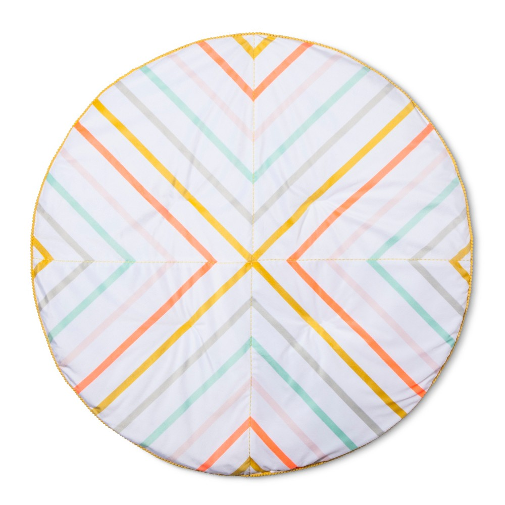 Image of Activity Circle Playmat Stripes - Cloud Island Wheat Valley, White