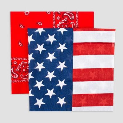 Wemco 2pk Americana Flag Bandana Scarf