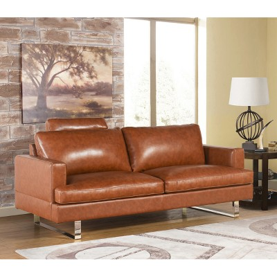 Erickson Top Grain Leather Sofa   Camel   Abbyson : Target