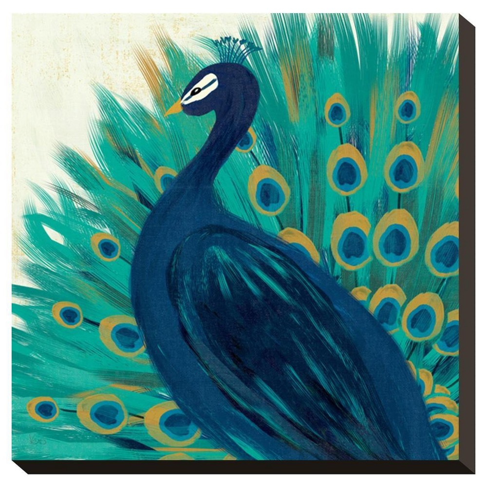 Proud As A Peacock Ii By Veronique Charron Stretched Canvas Print - Art.Com, Multicolored