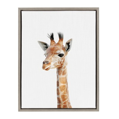 Kate & Laurel 24 x18  Sylvie Baby Giraffe Animal Print Portrait By Amy Peterson Framed Wall Canvas Gray