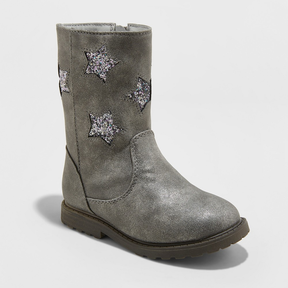 Toddler Girls' Reina Ruffle Boot with Glitter Stars - Cat & Jack Pewter 7, Silver