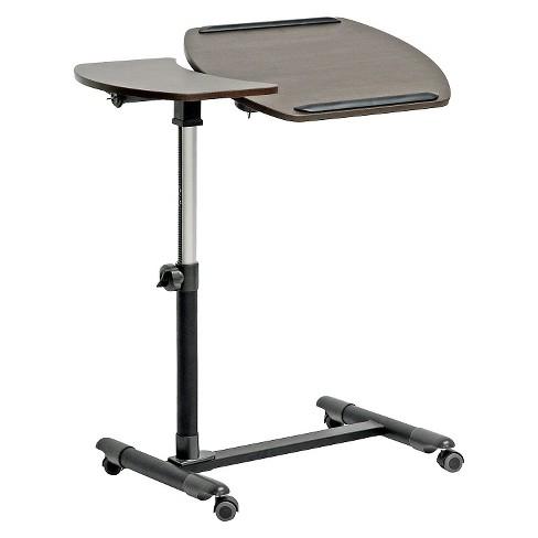 Olsen Wheeled Laptop Tray Table With Tilt Control Brown Baxton Studio