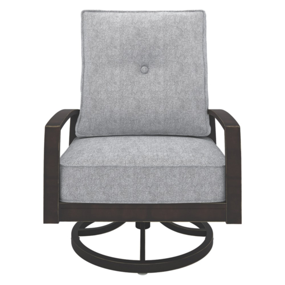 Image of Castle Island Swivel Lounge Chair - Dark Brown - Outdoor by Ashley