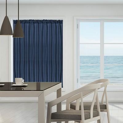 1 Pc Polyester Elegant Blackout Rod Sliding Curtain Panels - PiccoCasa
