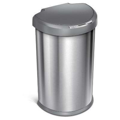 Simplehuman studio 45 Liter Semi-Round Sensor Trash Can, Stainless Steel - Gray Plastic Lid
