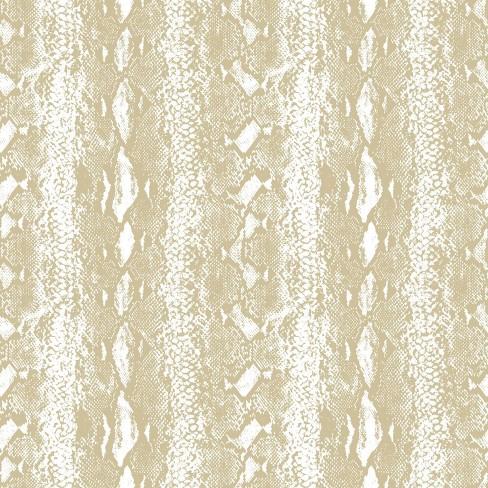 Roommates Snake Skin Peel Stick Wallpaper White Gold Target