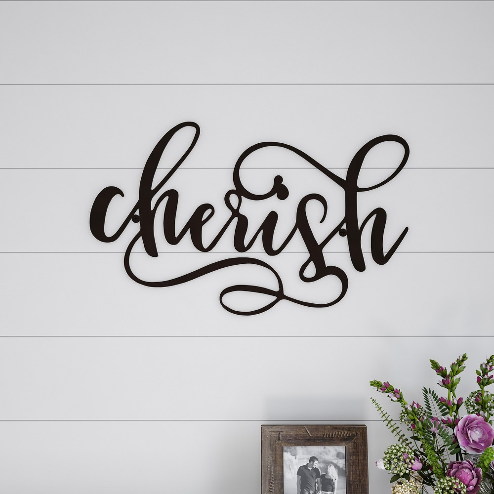 "Image of """"""Cherish"""" Decorative Wall Sign Natures Brown - Lavish Home"""