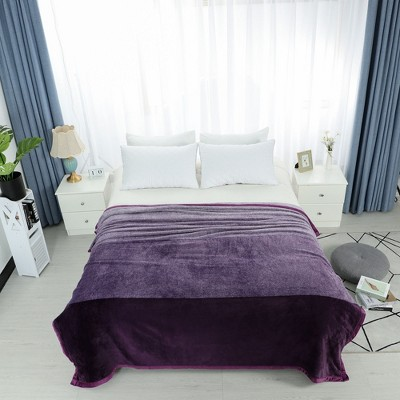 1 Pc Queen Microfiber Plaid Flannel Fleece Bed Blankets Purple  - PiccoCasa