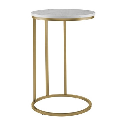 """16"""" Round C Table Glass and Metal White/Gold - Saracina Home"""