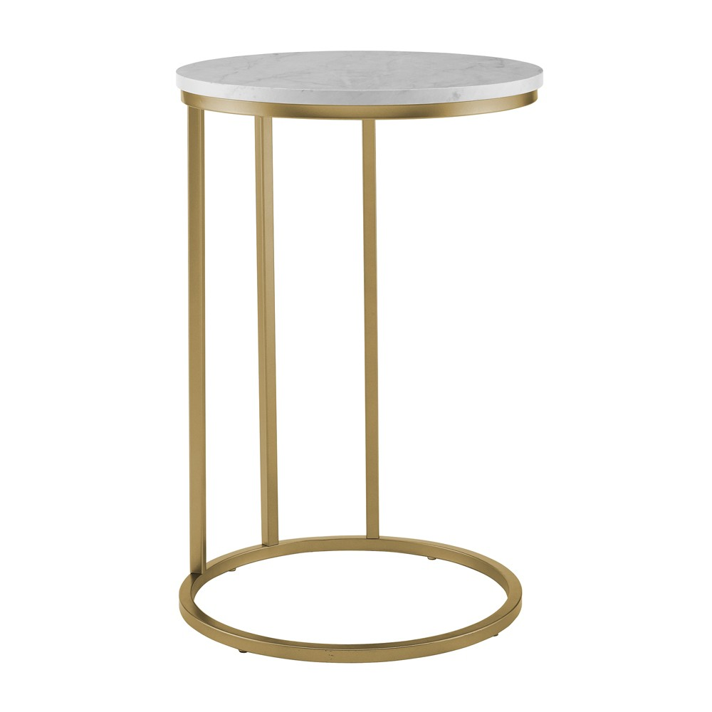 """Image of """"16"""""""" Round C Table White Marble/Gold - Saracina Home, White Faux Marble/Gold"""""""