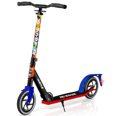 Hurtle Renegade Lightweight Foldable Teen and Adult Adjustable Ride On 2 Wheel Transportation Commuter Kick Scooter w/ Adjustable Handlebar, Graffiti