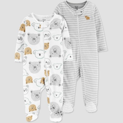 Baby Boys' 2pk Bear Sleep N' Play - Just One You® made by carter's Gray/White 3M