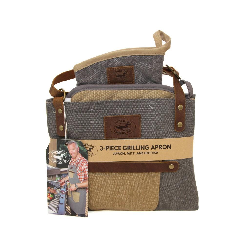 Image of 3pc BBQ Apron Bundle - Superior Trading Co., Beige Blue