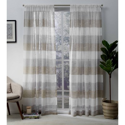 Set of 2 Bern Rod Pocket Window Curtain Panels Exclusive Home