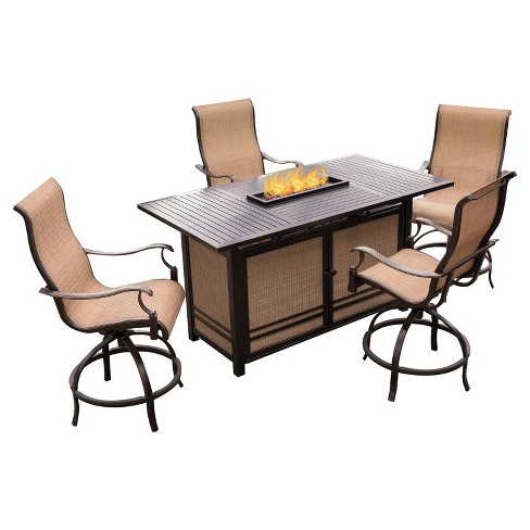 Monaco 5pc Rectangle Metal Patio Dining Set w/ Fire Pit Bar - Tan - Hanover - image 1 of 8