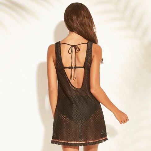 d9cc150c63 Women s Crochet Trim Back Tank Cover Up Dress - Xhilaration™ Black ...