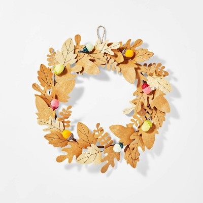 "16"" Laser Cut Felt Leaf Harvest Wreath (with Acorns)- Spritz™"