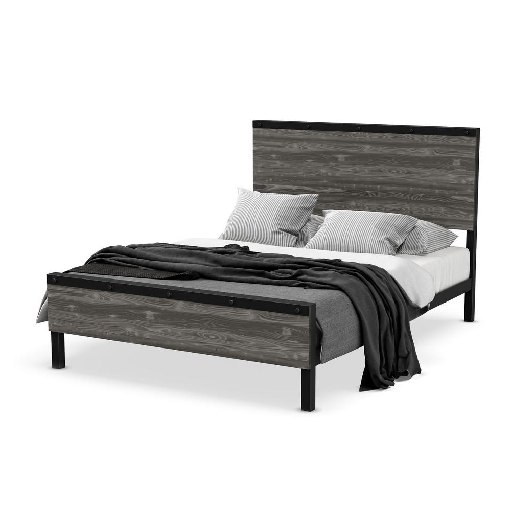 Winkler Queen Metal And Wood Bed Black And Light Gray - Amisco