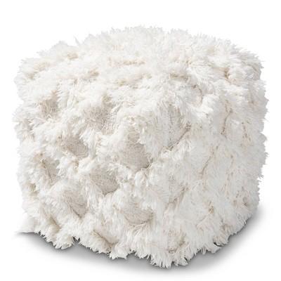 Asuka Handwoven Cotton Fringe Pouf Ottoman Ivory - Baxton Studio