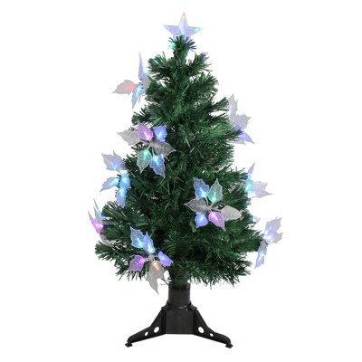 Northlight  3' Prelit Artificial Christmas Tree Fiber Optic with Flowers - Multicolor Lights