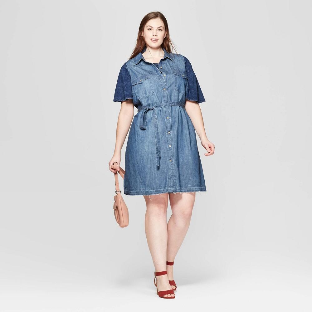 Women's Plus Size Sleeveless Collared Western Denim Shirtdress - Universal Thread Medium Blue 3X