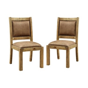 Set of 2 Shelia Padded Leatherette Side Dining Chair Rustic Pine - Sun & Pine, Brown