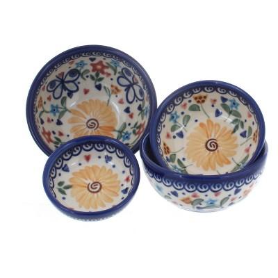 Blue Rose Polish Pottery Butterfly Measuring Bowl Set