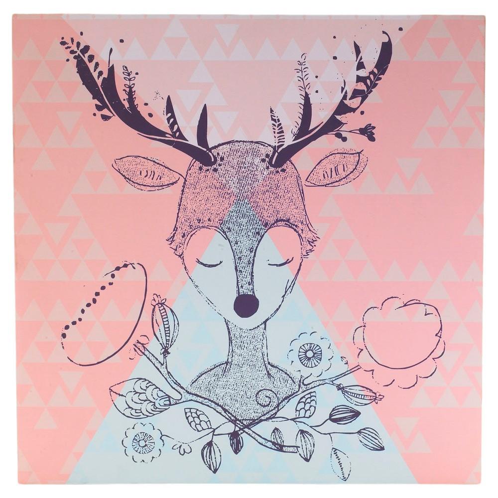 "Image of ""Lolli Living Deer Canvas Art - Pink/Blue (15""""x15"""")"""