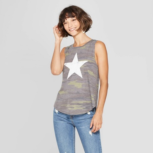 Women's Camo Print Star Scoop Neck Tank Top - Grayson Threads (Juniors') - Green - image 1 of 9