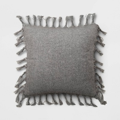 Wool Blend Square Throw Pillow with Braided Tassels Gray - Threshold™