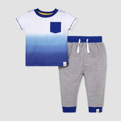 Burt's Bees Baby® Baby Boys' Dip-Dye Pocket T-Shirt and French Terry Pants Set - Blue 6-9M