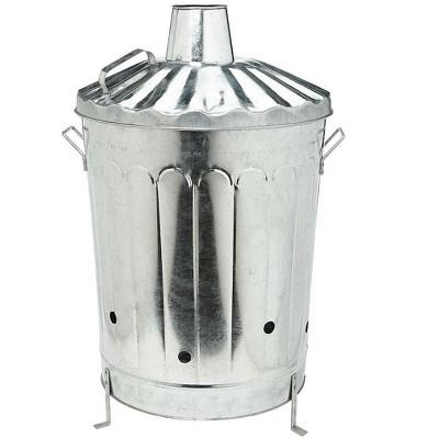 Plow & Hearth - Galvanized Metal Garden Incinerator Can - Made from Durable 28-Gauge Metal