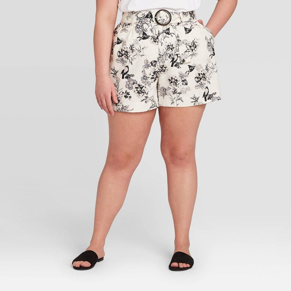 Women's Plus Size Floral Print Mid-Rise Pleated Shorts - Who What Wear Cream 16W, Women's, Ivory was $27.99 now $19.59 (30.0% off)