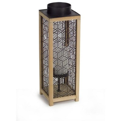 """Melrose 21"""" Contemporary Wooden and Black Metal Decorative Candle Lanterns"""