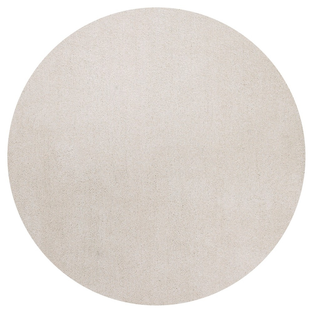 Ivory Solid Woven Round Area Rug 6' - Kas Rugs, White