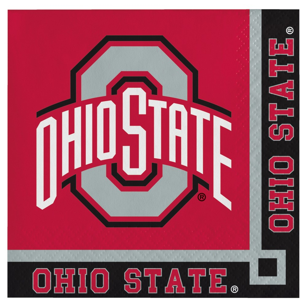 Image of 20ct Ohio State Buckeyes University Cocktail Beverage Napkins