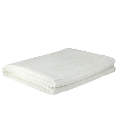 "Northlight 50"" x 60"" Ultra Plush Micro Fleece Throw Blanket - White"