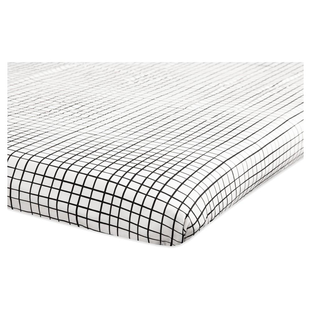 Image of Babyletto Mini Fitted Crib Sheet - Tuxedo Monochrome Grid
