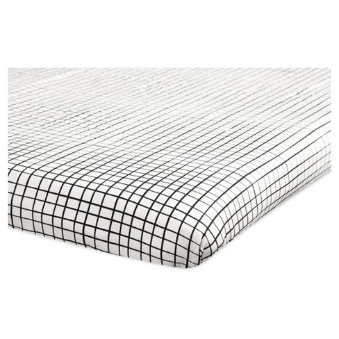 Babyletto Mini Fitted Crib Sheet - Tuxedo Monochrome Grid - image 1 of 4