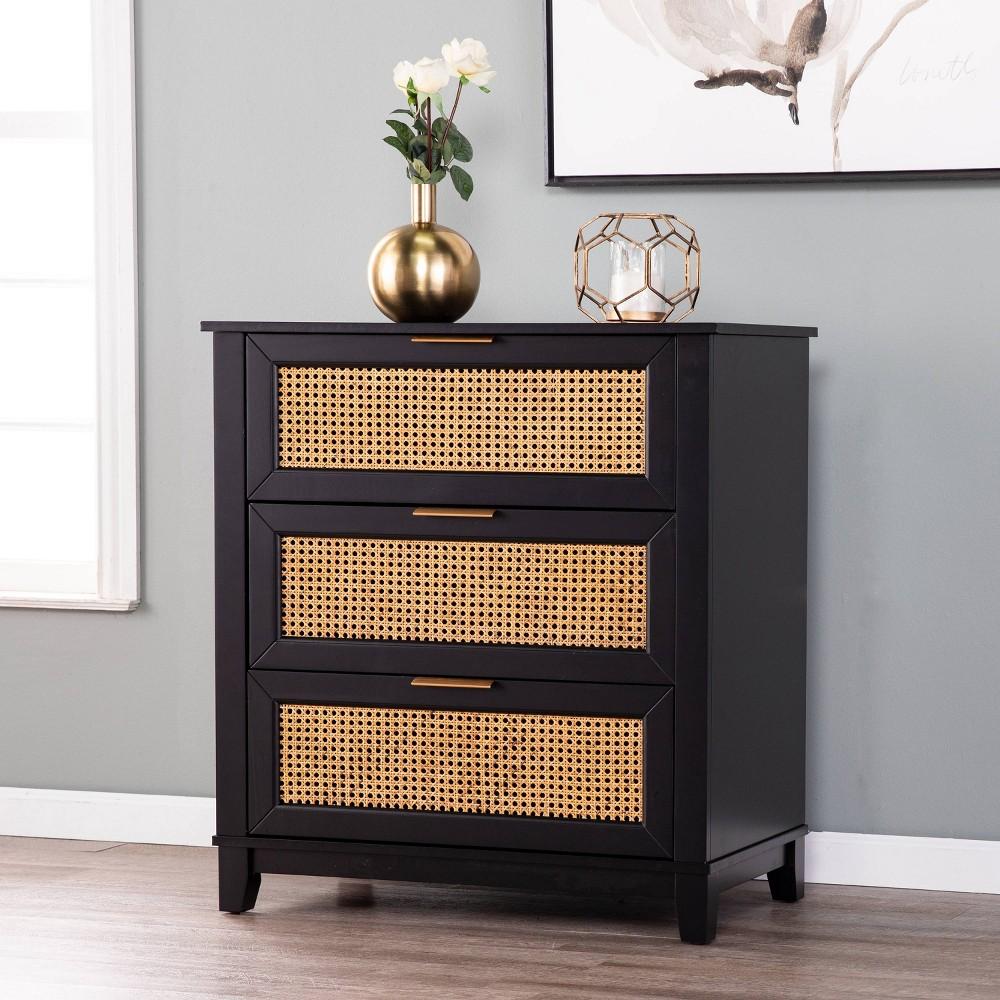 Image of Chekshire Black 3 Drawer Storage Chest Black/Natural - Holly & Martin