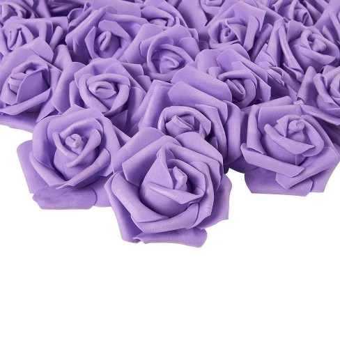 Rose Flower Heads - 100-Pack Artificial Roses, Perfect Wedding Decorations, Baby Showers, Crafts - Purple, 3 x 1.25 x 3 inches - image 1 of 3