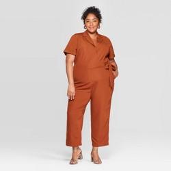 Women's Plus Size Short Sleeve Notch Collar Jumpsuit - Ava & Viv™