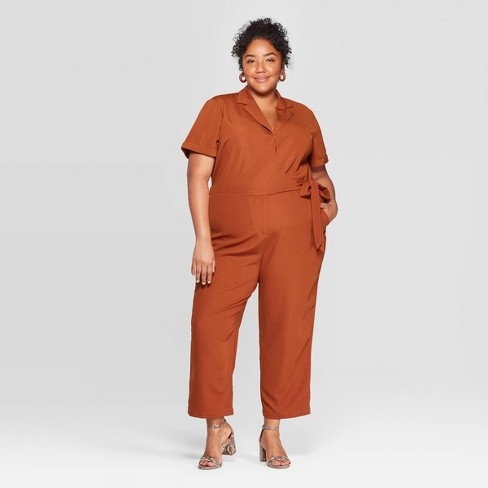 Women's Plus Size Short Sleeve Notch Collar Jumpsuit - Ava & Viv™ - image 1 of 4