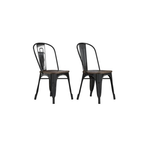 Set of 2 Fiora Metal Dining Chair With Wood Seat Black - Room & Joy - image 1 of 4
