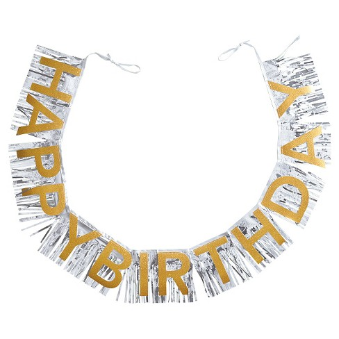 Gold and Silver Happy Birthday Banner - Spritz™ - image 1 of 1