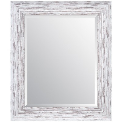 "16""x20"" Distressed Scoop Framed Beveled Wall Accent Mirror White - Gallery Solutions"