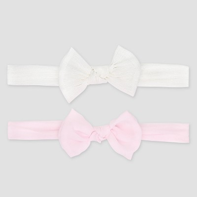 Baby Girls' 2pk Bow Headbands - Just One You® made by carter's White/Pink